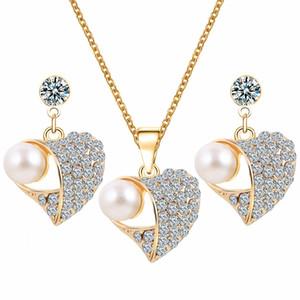 Невеста Мода Кристалл жемчужина африканские комплекты ювелирных изделий Vintage Позолоченные ожерелье сердца серег комплекты ювелирных изделий ожерелья чокеровщика букле d'Oreille