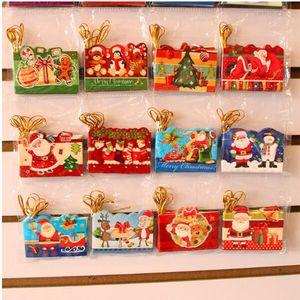 Cartões de natal Xmas Cumprimentar Cartões de Natal Criativo Bonito Cartões de Desejos Enfeites de Árvore de Natal Melhores Presentes 128 Pçs / set