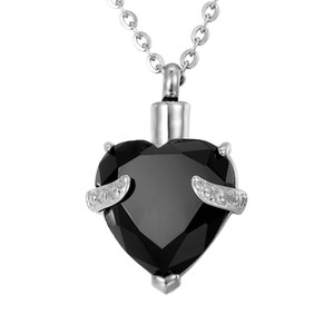 Lily Urn Necklaces Diamond Cremation Jewelry Heart Memorial Keepsake Cenizas colgante con bolsa de regalo Five Colors