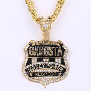 Moda Kadın Erkek Hip Hop 18 k altın Gümüş kaplama Punk Buzlu Kurutulmuş Kristal Gangsta Para Güç Saygı Kolye Yılan Zincir Kolye Takı
