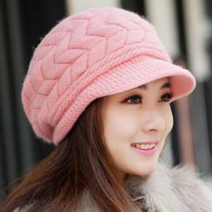 Новое прибытие элегантные женщины вязаные шапки кролика меховая шапка Осень Зима дамы женская мода Skullies Hat MOQ 20 шт.