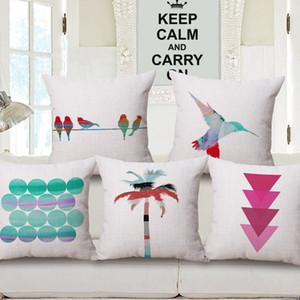 современные смешанные цвета Чехлы точка cojines колибри диван бросить наволочки ладони домашний декор геометрический almofada