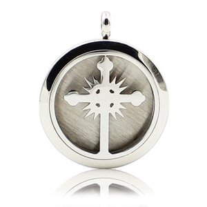 Aromatherapy Essential Oil Diffuser Necklace Cross Fire 316L Stainless Steel Locket Pendant with Ajustable Chain 6 Refill Pads
