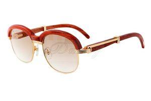 Nuevas gafas de sol de alta calidad con leggings naturales, gafas de sol de gama alta de moda de marco completo de madera 1116728 Tamaño: 60-18-135mm