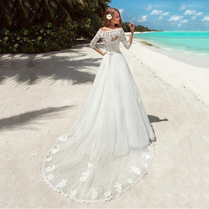 Charming Bateau Neckline Tulle A-line Wedding Dresses Elegant Lace Appliques Half Sleeves Wedding Gowns Beach Bridal Dresses Custom Made