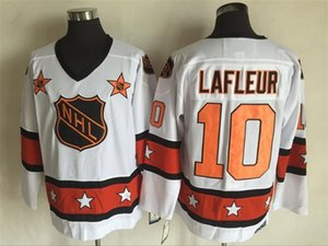 Qualidade máxima ! Barato 1975 All Star Camisas # 10 Guy Lafleur Jerseys Branco CCM Retro Camisolas De Hóquei No Gelo Número De Nomes Logos Costurado