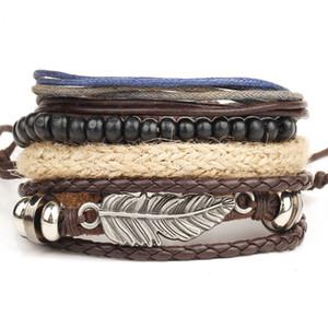 Punk plumes Charms Bracelet Perles + Multilayer Déclaration de cuir corde tressée Bracelet Wrap pour hommes Bijoux pulseira de couro comme cadeau