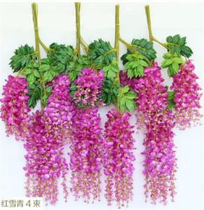 24pcs seta glicine fiore rattan 110 cm / 65 cm simulazione glicine fiori per la cerimonia nuziale Natale fiori decorativi artificiali 6 colori