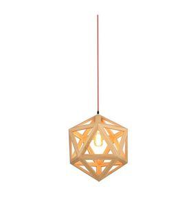 RH Loft LED Pendant Light Wood Drop Light Hexahedron Shaped Hanging Lamp for Living Room Dining Room