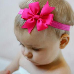 Дети новорожденных девочек оголовье милый Малыш младенческой шифон бантом ободки сплошной цвет волос Луки волос полоса аксессуары 20 шт./лот
