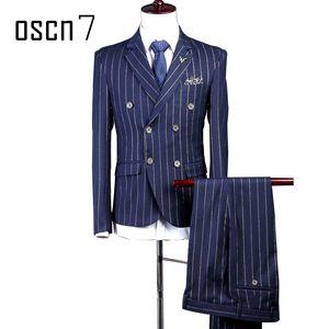 Wholesale- OSCN7 Vestito a doppio petto stampato a righe Uomo Custom Made Blu navy Abito da sposa uomo Costume di moda Homme Plus Size Terno