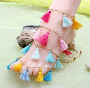 Venta caliente nuevo diseño de 4 colores Comercio de joyas europeas con flecos tobilleras de playa de verano Borlas sin dedos Tobilleras tobilleras agradables al por mayor de colores