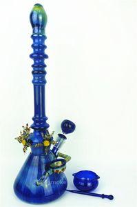 """2016 nouveau luxe belle 16 """"hauteur verre conduites d'eau coloré bleu coloré fabriqué à la main dab rigs huile collants bangs pipes 4 accessoires Zob Hitman"""