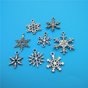 Mezcla de colgantes de copo de nieve de plata tibetana colgantes joyería que hace la pulsera collar de moda Accesorios de componentes de la joyería popular V156
