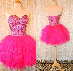 Meravigliosi cristalli Sweetheart Hot Pink Puffy Tulle Ball Gown Brevi Homecoming Strass colorati Cocktail Prom Abiti da ballo BO7806