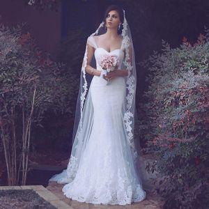 Árabe Design Lace Sereia Vestidos de Casamento 2019 Sheer Straps Apliques de Espartilho Voltar Sweep Trem País Vestidos de Noiva Vestidos De Noiva Personalizado