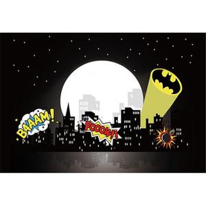 City Night Pleine lune Etoiles Superhero Photographie Backdrops bébé nouveau-né fête d'anniversaire d'enfants d'enfants Cartoon fond pour Studio