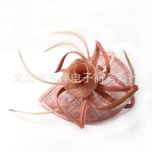 60 pcs Sinamay Fascinator Tiaras Acessórios Para o Cabelo De Noiva Acessórios Custom made cores Pena Partido Headpiece Chapéus Fábrica Venda Diretamente
