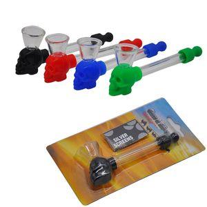 최신 디자인 4 색상 실리콘 해골 유리 파이프 손 파이프 흡연 유리 튜브 담배 물 파이프 유리 기름 버너 dab rigs에 대 한