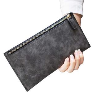 Wholesale- New European Vintage Women Wallets Zipper Long Wallet Women Phone Pouch Female Purses Scrub Leather Wallet Coin Holders Purse