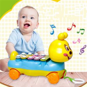 Wholesale-10pcs / lot Baby-Kind-5-Note Xylophone Nette Nachzieh-Musical Entwicklungs-Spielzeug-Geschenk-Kinder-Musikinstrument Spielzeug ziehbar Spielzeug