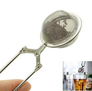 إينفوسير الفولاذ المقاوم للصدأ مصفاة الشاي وعاء الشاي إينفوسير شبكة الكرة أوراق الشاي تصفية الضغط قفل قفل التوابل ملعقة