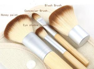 20 juegos de maquillaje Cepillos 4 piezas 4 piezas Set Kit Bambú hermoso maquillaje profesional elaborada Hasta Herramientas cepillo con el caso de la cremallera de la bolsa bolso botón