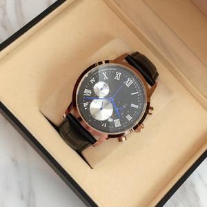 2017 Üst Marka Kuvars İzle Lüks Erkekler Elbise Saatler Deri Saatı Moda Casual Saatler siyah / kahverengi bant Ücretsiz kargo ile kutu