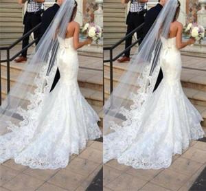Prinzessin Brautschleier Günstige Lange Spitze Brautschleier Eine Schicht Nach Maß Spitze Applique Rand Brautschleier Kostenloser Versand