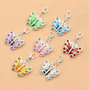 Wholesale-Mixed Silver Plated Enamel Crystal Butterfly Charm Bracelet Lobster Clasp Jewelry Diy Jewelry Making Findings 36x21mm