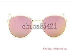 Donne superiore degli uomini di qualità è in lega di occhiali da sole Retro rotonda Eyewear Gold Frame 50 millimetri Rosa specchio di vetro dell'obiettivo con il caso Brown