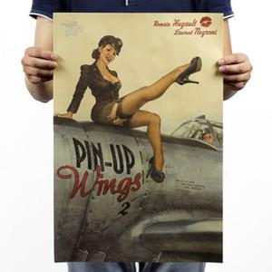 Neue PIN UP Girl World War 2 Vintage Kraftpapier Poster Pub Bar Zimmer Wandbild