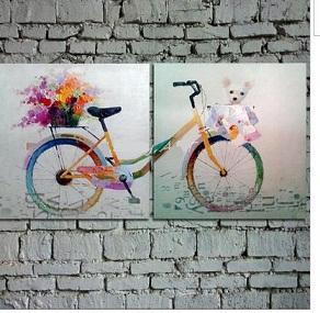 2 piezas de bicicleta, pintura al óleo pintada a mano genuina del arte de la historieta del extracto de la decoración contemporánea de la pared en mano. tamaño personalizado aceptado ali-lovely