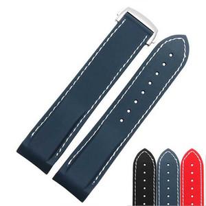 20mm 22mm NEW TOP GRADE Nero Dark Blue Impermeabile Diving Silicone cinturini in gomma cinturini cinghie con fibbia in acciaio inox per Omega Watch