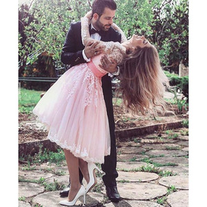 2016 New Arabic Cocktail Dresses Sweetheart Long Sleeves Illusion Lace Appliques Pink Tulle Sashes Homecoming Dress Short Prom Party Gowns