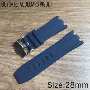Reloj de lujo de 28 mm. Correa impermeable de silicona de caucho de camuflaje con hebilla de acero inoxidable apta para el reloj AP.