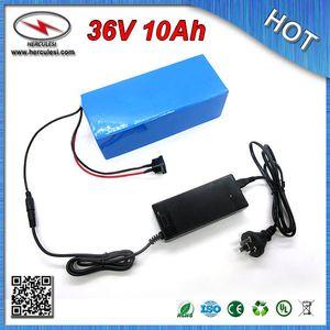 Бесплатная доставка (1 шт.) электрический велосипед батареи 36 в 10ah литий-ионный аккумулятор with18650 клетки ПВХ чехол + бесплатное зарядное устройство 10 S BMS розничная
