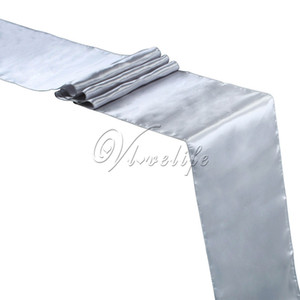 "Wholesale- Free Shipping New Silver Satin Table Runner 12"" x 108'' Wedding Party Banquet Home Hotel Table Decorations 30cm x 275cm"