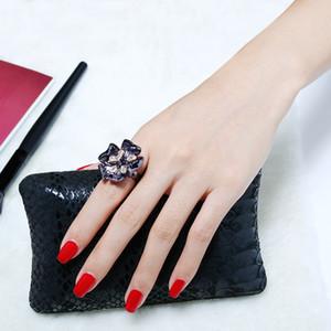 Цветок черного кольцо ювелирной Анель aneis anillos BAGUE фам Женщина моды старинного ювелирных изделий женского коктейль кольцо