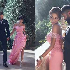Charming 2016 Pink Lace And Chiffon Mermaid Prom Dresses Sexy Off Shoulder Long Arabic Party Gowns Custom Made China EN9104