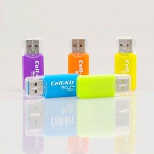 Atacado leitor de cartão de memória do telefone móvel TF leitor de cartão pequeno multi-purpose de alta velocidade USB SD Card Reader 1000 pçs / lote