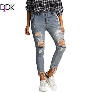 Pantaloni da donna all-ingrosso 2016 da donna Casual blu Zipper Fly a vita media strappati pantaloni skinny skinny alla caviglia