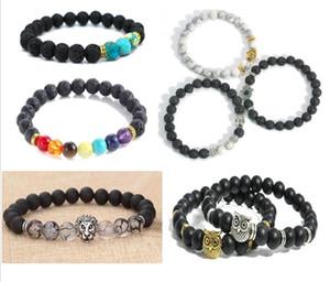 Neue Design Herren Armbänder 8mm Lava Stein Perlen Mit Antiken Gold Silber lion Buddha OWL kopf Charme Armbänder CC781