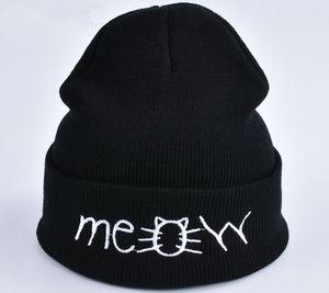 Новый вышивка письма кошка мяу вязаные шапочки шляпы зима теплая унисекс капот шерсть хип-хоп Skullies шапки