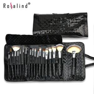 Rosalind Мода 18 Шт. Макияж Кисти Комплект + Черный Алмаз Pattern Лакированная Кожа Case Сумка Бесплатная Доставка Красота