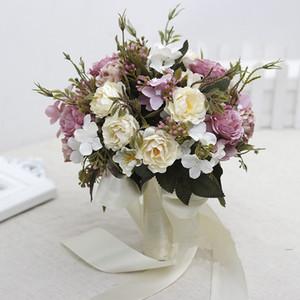 Pink, Fuchsia Bouquetal Bouques Свадебные цветы с лентами слоновой кости Высококачественные свадебные аксессуары 2017 Новое прибытие