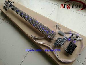 Rare 7 cordes Basse LED acrylique lumières corps Guitare basse électrique 24 Frets Chine Basse trans acrylique LED lumière du corps photo Tête réel