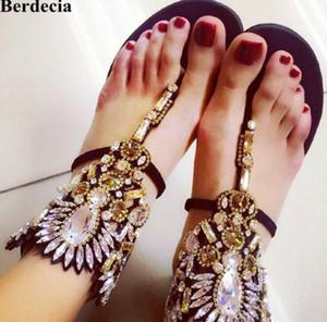 디자이너 신발 여자 럭셔리 샌들 Femme 크리스탈 플랫 샌들 비치 샌들 여름 플립 플롭 라인 석 Gladiator Sandals Women