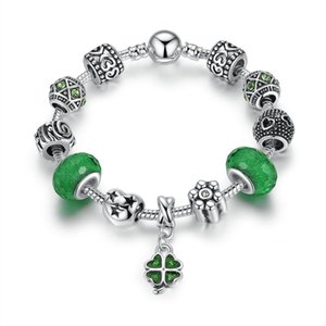 Fashion Beaded Charm Bracelets with Green Faceted Glass Beads & Clover Dangle Pendants DIY Silver Bangle Bracelets for Women BL233