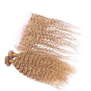 Afro Kinky Curly Strawberry El cabello rubio se teje con el frontal de encaje # 27 Honey Blonde Kinky Curly Human Virgin Virgin Hair Con el cierre del frontal de encaje